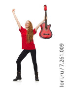 Купить «Pretty girl with guitar isolated on white», фото № 7261009, снято 5 декабря 2014 г. (c) Elnur / Фотобанк Лори