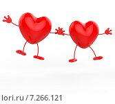 Два красных сердечка держатся за руки на белом фоне. Стоковая иллюстрация, иллюстратор Stuart Miles / Фотобанк Лори
