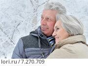 Senior couple in winter. Стоковое фото, фотограф Ruslan Huzau / Фотобанк Лори