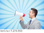Купить «happy businessman in suit speaking to megaphone», фото № 7273553, снято 29 января 2015 г. (c) Syda Productions / Фотобанк Лори