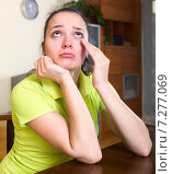 Купить «Upset woman crying at home», фото № 7277069, снято 12 июля 2020 г. (c) Яков Филимонов / Фотобанк Лори
