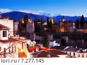 Купить «Evening view of Alhambra with Sierra Nevada in Granada», фото № 7277145, снято 6 декабря 2014 г. (c) Яков Филимонов / Фотобанк Лори