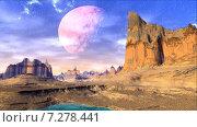 Купить «Чужая планета. Скалы и луна в небе», видеоролик № 7278441 (c) Parmenov Pavel / Фотобанк Лори