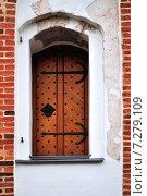 Купить «Старинная дверь в красной кирпичной стене», фото № 7279109, снято 10 апреля 2015 г. (c) Зезелина Марина / Фотобанк Лори