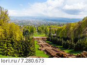 Прекрасный вид на парк Вильгельмшолль (Bergpark Wilhelmshöhe), в городе Кассель (Kassel), Германия (2014 год). Стоковое фото, фотограф Сергей Новиков / Фотобанк Лори