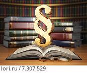 Paragraph sign on the vintage book in library. Law concept. Стоковая иллюстрация, иллюстратор Maksym Yemelyanov / Фотобанк Лори