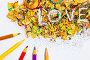 """Цветные карандаши и слово """"LOVE"""" в стружке, фото № 7312233, снято 18 февраля 2015 г. (c) Astroid / Фотобанк Лори"""