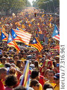 Купить «Rally demanding independence for Catalonia», фото № 7316961, снято 11 сентября 2014 г. (c) Яков Филимонов / Фотобанк Лори