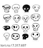 Набор изображений черепов на белом фоне. Стоковая иллюстрация, иллюстратор Миронова Анастасия / Фотобанк Лори