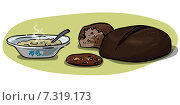 Тарелка супа и хлеб. Стоковая иллюстрация, иллюстратор Ирина Малашкина / Фотобанк Лори