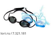 Купить «Черные и голубые очки для плавания на белом фоне», фото № 7321181, снято 13 мая 2012 г. (c) Анна Полторацкая / Фотобанк Лори