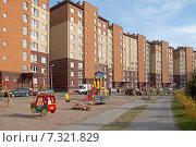 Купить «Двор современного микрорайона, детская игровая площадка», эксклюзивное фото № 7321829, снято 23 апреля 2015 г. (c) Svet / Фотобанк Лори