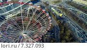 Купить «Колесо обозрения на ВДНХ, снятое с квадрокоптера», фото № 7327093, снято 20 января 2020 г. (c) Андрей Родионов / Фотобанк Лори