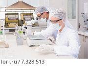 Купить «Scientists weighing corn in petri dish», фото № 7328513, снято 19 октября 2014 г. (c) Wavebreak Media / Фотобанк Лори
