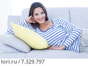 Купить «Smiling beautiful brunette relaxing on the couch and looking at camera», фото № 7329797, снято 14 октября 2014 г. (c) Wavebreak Media / Фотобанк Лори