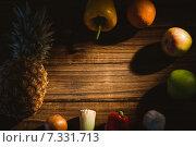 Купить «Fruit and veg laid out on table», фото № 7331713, снято 12 февраля 2015 г. (c) Wavebreak Media / Фотобанк Лори