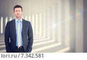 Купить «Composite image of businessman looking at the camera», фото № 7342581, снято 22 мая 2019 г. (c) Wavebreak Media / Фотобанк Лори