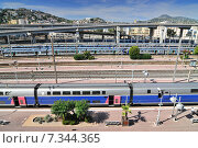 Купить «View from Above of the Nice-Ville train station and TGV Trains in Nice, Cote d'Azur, France», фото № 7344365, снято 10 декабря 2018 г. (c) BE&W Photo / Фотобанк Лори