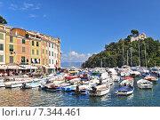 Купить «The harbour at Portofino, Golfo del Tigullio, Liguria, Italian Riviera, Italy», фото № 7344461, снято 22 августа 2019 г. (c) BE&W Photo / Фотобанк Лори