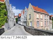 Купить «Houses along the canal in Bruges Belgium», фото № 7344629, снято 22 октября 2019 г. (c) BE&W Photo / Фотобанк Лори