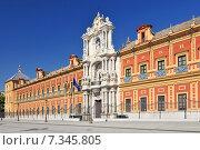 Front of Palacio de San Telmo along avenida de Roma street central Seville Andalusia Spain. Стоковое фото, агентство BE&W Photo / Фотобанк Лори