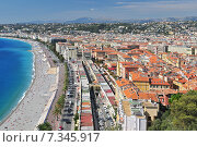 Купить «Promenade des Anglais, The Marche aux Fleurs and the city of Nice from the Parc de Colline du Chateau», фото № 7345917, снято 18 января 2019 г. (c) BE&W Photo / Фотобанк Лори