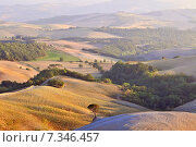 Tuscany, Val d' Orcia (Orcia Valley), landscape classified as World Heritage by UNESCO. Стоковое фото, агентство BE&W Photo / Фотобанк Лори