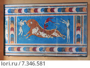 Купить «Copy of Bull Leaping Fresco, Palace of Knossos, Greece Crete.», фото № 7346581, снято 24 февраля 2019 г. (c) BE&W Photo / Фотобанк Лори