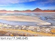 Купить «Bolivia, Laguna Colorada, Red Lagoon, Shallow Salt Lake in the Southwest of the Altiplano of Bolivia, within Eduardo Avaroa Andean Fauna National Reserve», фото № 7346645, снято 26 марта 2019 г. (c) BE&W Photo / Фотобанк Лори