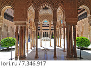 Купить «Moorish architecture of the Court of the Lions, the Alhambra, Granada, Andalucia (Andalusia), Spain, Europe», фото № 7346917, снято 14 декабря 2018 г. (c) BE&W Photo / Фотобанк Лори
