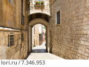 Купить «Old narrow street of medieval Girona», фото № 7346953, снято 12 июня 2014 г. (c) Яков Филимонов / Фотобанк Лори