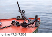 Купить «Судовой якорь лежит на носу катера», фото № 7347509, снято 22 июля 2018 г. (c) FotograFF / Фотобанк Лори