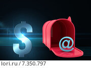 Купить «Red email postbox against shiny information icon on black background», иллюстрация № 7350797 (c) Wavebreak Media / Фотобанк Лори