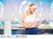 Купить «Composite image of fit blonde listening to music», фото № 7363453, снято 26 июня 2019 г. (c) Wavebreak Media / Фотобанк Лори