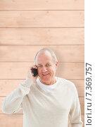 Купить «Composite image of happy mature man on the phone», фото № 7369757, снято 18 января 2020 г. (c) Wavebreak Media / Фотобанк Лори