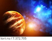Купить «Space scene with planet and nebula», фото № 7372705, снято 21 мая 2018 г. (c) Лукиянова Наталья / Фотобанк Лори