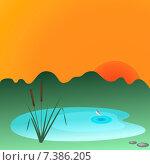 Тростник и озеро. Стоковая иллюстрация, иллюстратор Bellastera / Фотобанк Лори