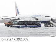 """Аэродромный автобус для перевозки пассажиров везет людей, прилетевших самолетом Боинг-767 авиакомпании """"Трансаэро"""" (2015 год). Редакционное фото, фотограф А. А. Пирагис / Фотобанк Лори"""