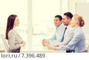 Купить «smiling businesswoman at interview in office», фото № 7396489, снято 5 апреля 2014 г. (c) Syda Productions / Фотобанк Лори