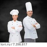 Купить «happy male chef cook with crossed hands», фото № 7398817, снято 7 марта 2015 г. (c) Syda Productions / Фотобанк Лори