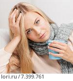 Купить «diseased woman with cup of tea», фото № 7399761, снято 30 марта 2013 г. (c) Syda Productions / Фотобанк Лори