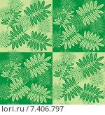 Бесшовный узор осенние листья рябины на зеленом фоне. Стоковая иллюстрация, иллюстратор Людмила Любицкая / Фотобанк Лори