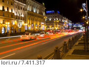 Ночной вид улицы Ленина в Минске (2015 год). Редакционное фото, фотограф Андрей Подольский / Фотобанк Лори