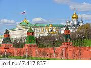 Купить «Большой Кремлёвский дворец с флагом Российской Федерации в Московском Кремле», фото № 7417837, снято 5 мая 2015 г. (c) Валерия Попова / Фотобанк Лори
