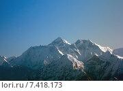 Kings of the Himalaya mountain range, Nuptse, Mount Everest and Lhotse. Стоковое фото, агентство Caro Photoagency / Фотобанк Лори