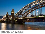 Мост Петра Великого с ночной подсветкой, Санкт-Петербург (2015 год). Стоковое фото, фотограф Юлия Бабкина / Фотобанк Лори