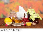 Купить «Чай с красной калиной, медом и лимоном. Средства от простуды», фото № 7427081, снято 25 октября 2013 г. (c) Сергей Молодиков / Фотобанк Лори
