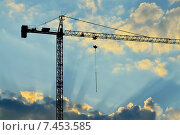 Купить «Силуэт строительного крана», фото № 7453585, снято 21 января 2014 г. (c) Сергей Трофименко / Фотобанк Лори