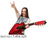 Купить «Young smiling girl with guitar isolated on white», фото № 7454329, снято 20 декабря 2014 г. (c) Elnur / Фотобанк Лори