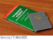 Купить «Трудовая книжка и трудовой кодекс лежат на столе», фото № 7464805, снято 30 апреля 2015 г. (c) Денис Ларкин / Фотобанк Лори